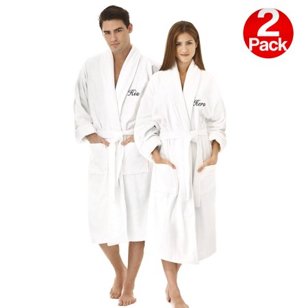 Kaufman - His and Hers White Velour Shawl Collar Bathrobes with Monogram. Set of 2](His And Hers Outfits)