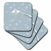 3dRose Two Turtle Doves and pretty snowflake ornaments at Christmas, Soft Coasters, set of 4