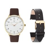 Olivia number gold womens watch gift set with 18mm brown genuine leather black leather interchanageable watch band WS016