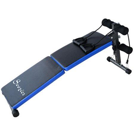 Soozier Adjustable Folding Ab Decline Sit Up Bench W Resistance Bands Blue Black