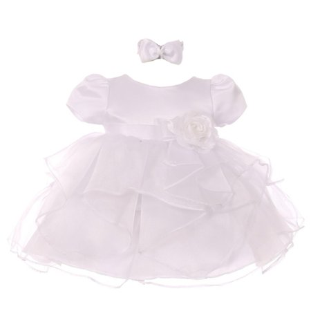 Good Girl Baby Girls White Satin Organza Short Sleeve Flower Girl Dress 24M - White Toddler Dress