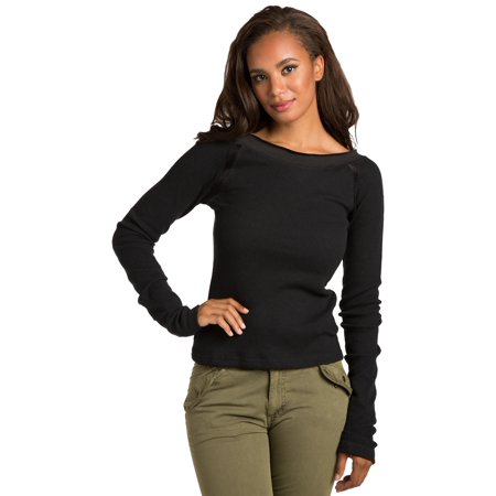 Sweet Vibes Womens Black Stretch Thermal Boat Neck Long Sleeve Top Velour Trim
