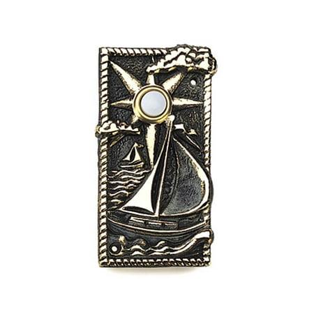 Sailboat Decorative Doorbell of Solid Brass w Verdigris Patina - Decorative Doorbells
