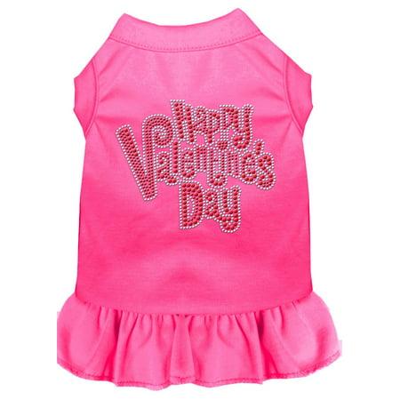 Happy Valentines Day Rhinestone Dress Bright Pink Sm (10)