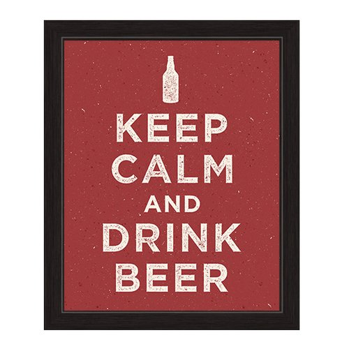 Click Wall Artwork Keep Calm and Drink Beer Framed Textual Art by Click Wall Art