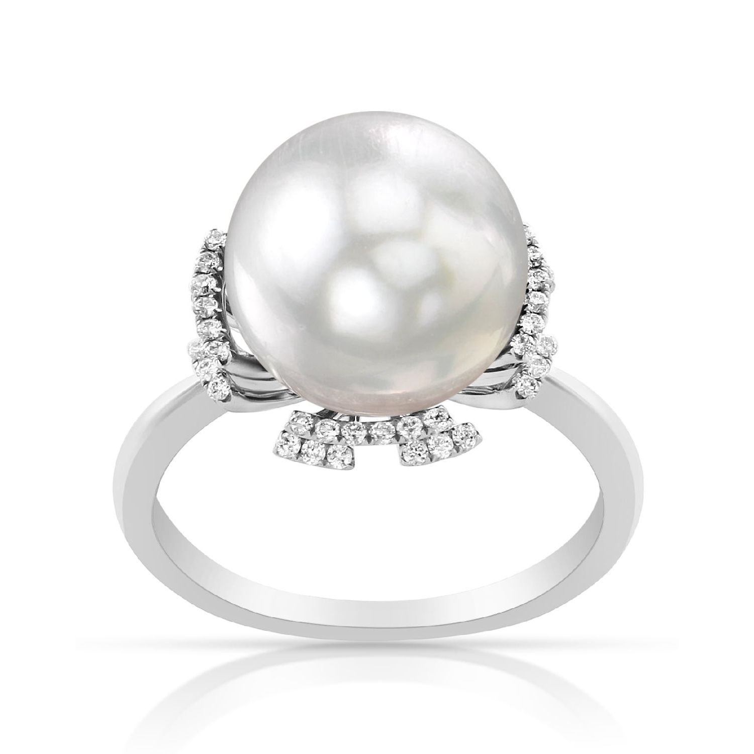 Radiance Pearl 14k Gold White South Sea Pearl and 1 6ct TDW Diamond Ring (G-H, SI1-SI2) by Overstock
