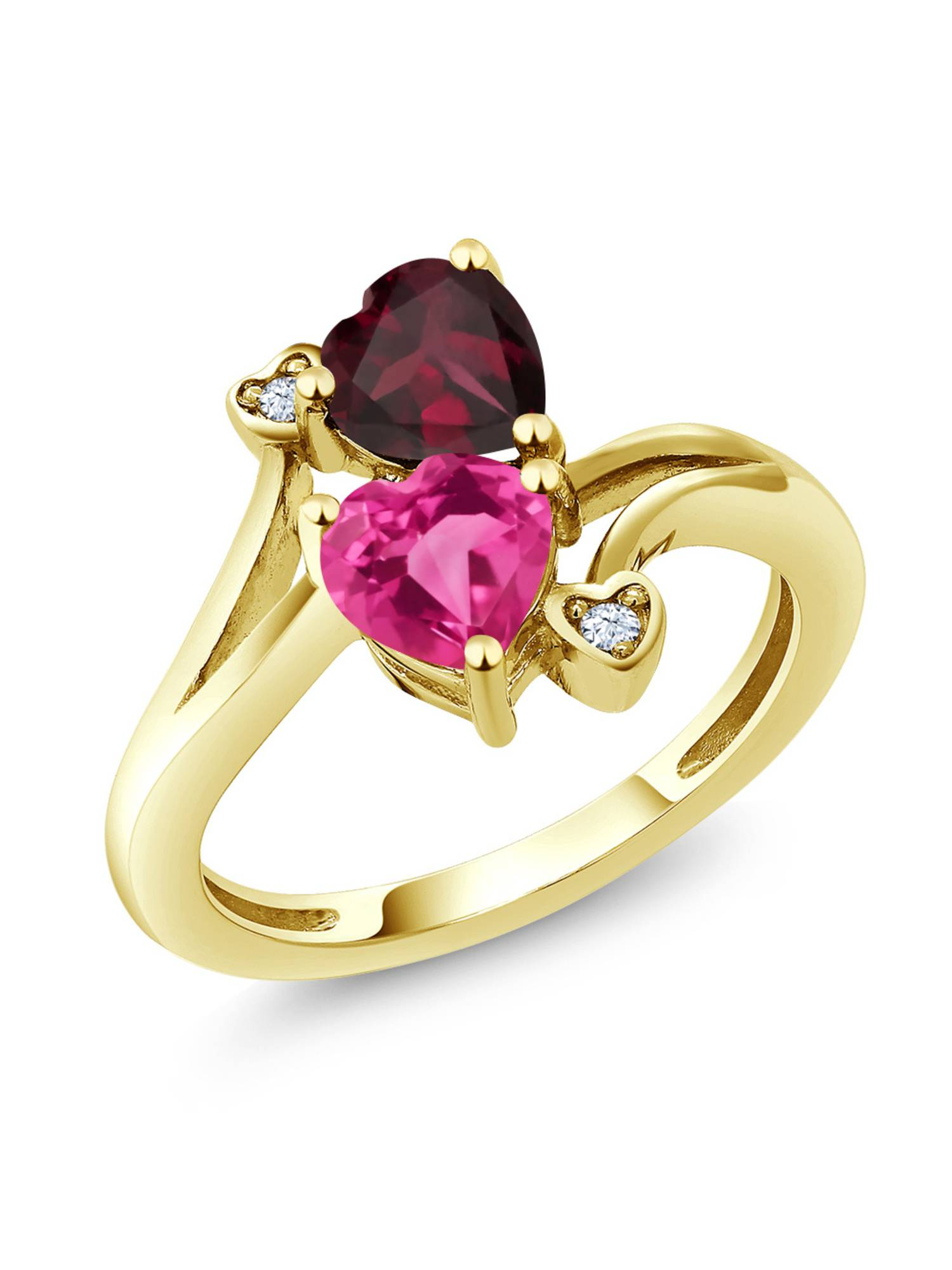 1.70 Ct Pink Mystic Topaz Red Rhodolite Garnet 18K Yellow Gold Plated Silver Ring by