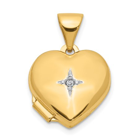 14k Yellow Gold 12mm Heart Diamond Photo Pendant Charm Locket Chain Necklace That Holds Pictures Gifts For Women For - 14k Diamond Girl Charm