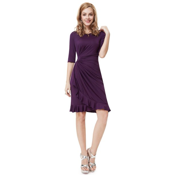 purple dresses for women : Ever-Pretty Womens Elegant Half Sleeve Ruffled Pleated Waist Stretchy Cocktail Clubwear Party Wear to Work Dresses for Women 03900 Purple US 8