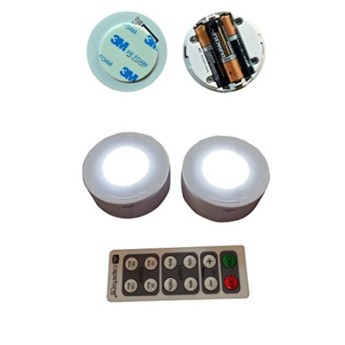 Capstone 6 LED Wireless Puck Lights with Remote Control, White ...