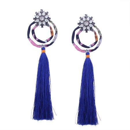 Bohemia Tassel Drop Earrings Cotton Thread Circle Crystal Rhinestone Dangle Earrings Women Ethnic Jewelry (Crystal Circle Drop Earrings)