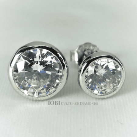 Modrna Bezel Set Iobi Cultured Diamond Solitaire Stud Earrings 1 Carat