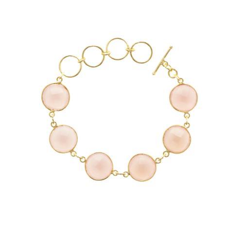 Semi Precious Jewelry Gold Overlay Pink Chalcedony 6 Gemstone Bracelet by Overstock