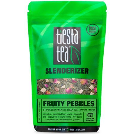 Tiesta Tea Fruity Pebbles, Strawberry Pineapple Green Tea, 30 Servings, 1.6 Ounce Pouch, Medium Caffeine, Loose Leaf Green Tea Slenderizer -