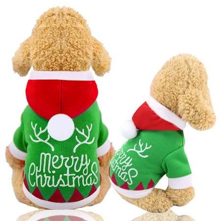 Jorlo Dog Cat Christmas Costumes Funny Pet Festival Dress Puppy Hoodie