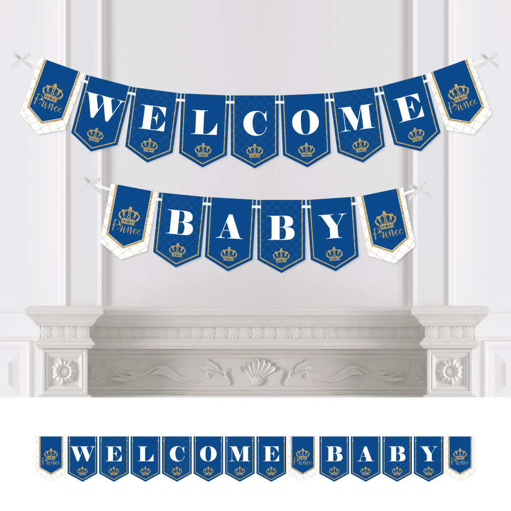 Royal Prince Charming - Party Bunting Banner - Baby Shower Decorations - Welcome Baby