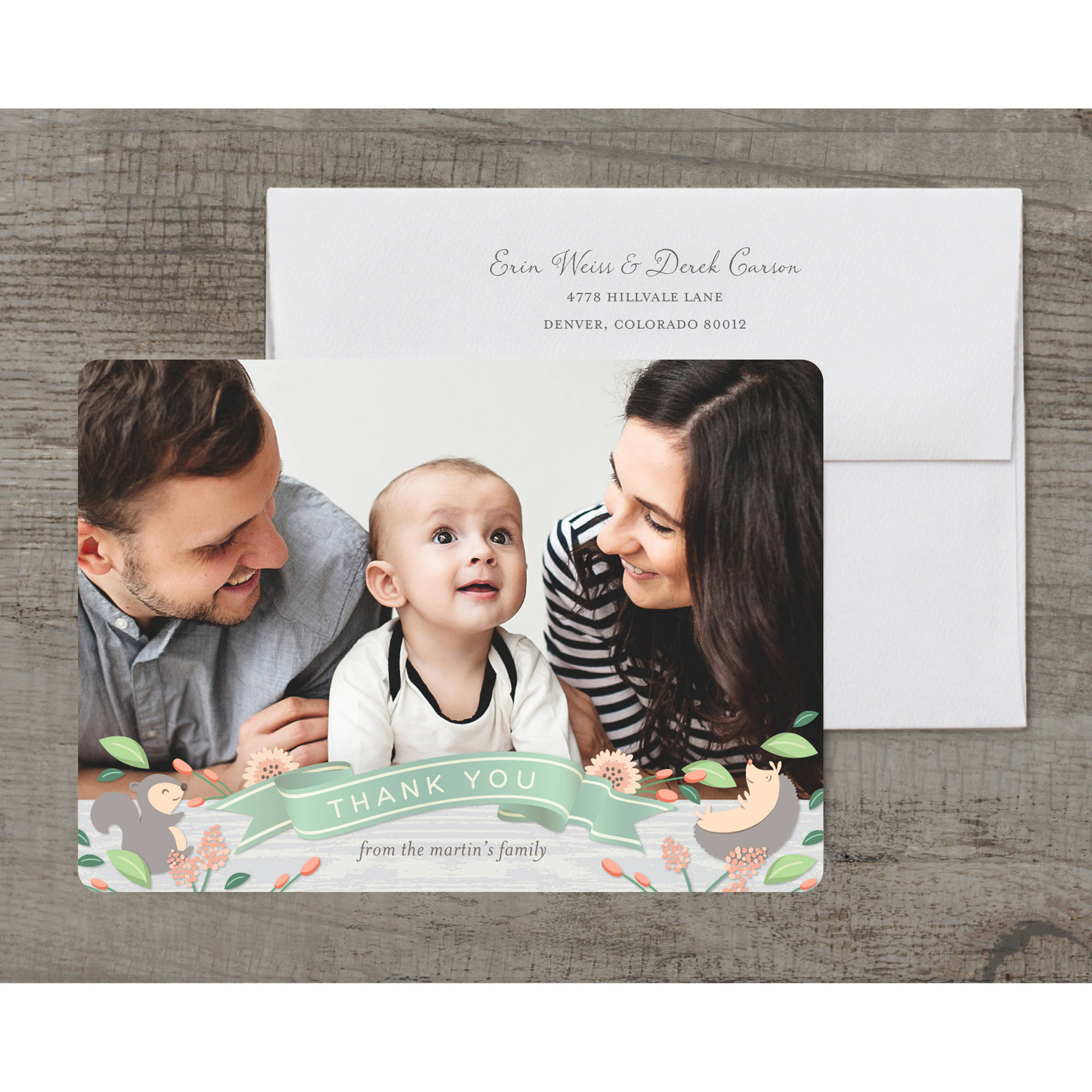 Rustic Critters Deluxe Baby Thank You Card