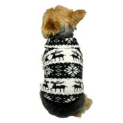 Black Pet Puppy Dog Xmas Reindeer Snowflake Print Fleece Sweater Hoodie Pullover Winter Warm Apparel