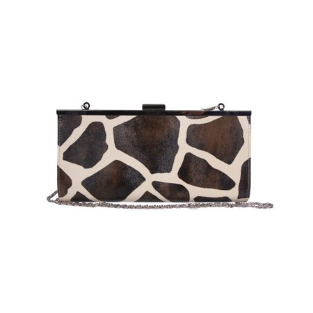 Womens Giraffe Animal Print Clutch Wallet w/ Chain