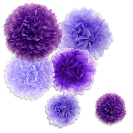 (Price/36 PCS)Aspire 36 Pcs Pom Poms, Mixed Purple Tissue Paper Flowers, Party Favors
