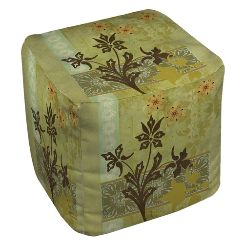 Manual Woodworkers & Weavers Collage Blossoms Pouf