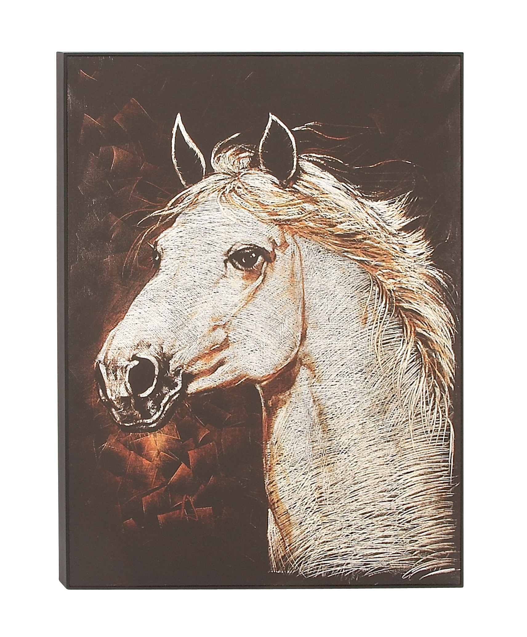 Decmode Eclectic 46 x 34 inch white horse head on black background framed canvas Wall... by DecMode