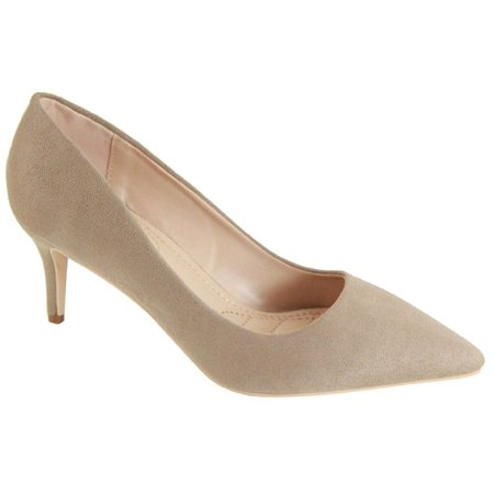 Marque-4 Women Pointed Toe Suede Low Kitten Heel Slip On Pumps Nude