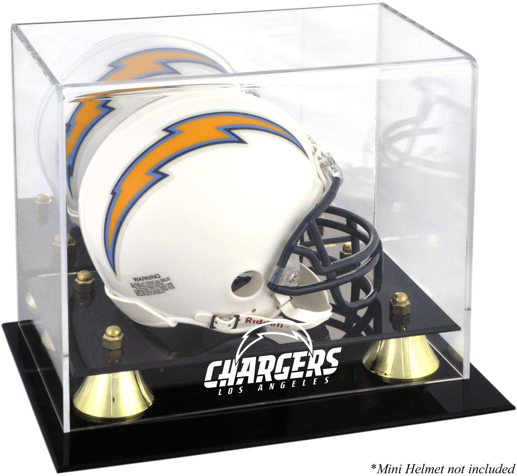 Los Angeles Chargers Golden Classic Mini Helmet Display Case