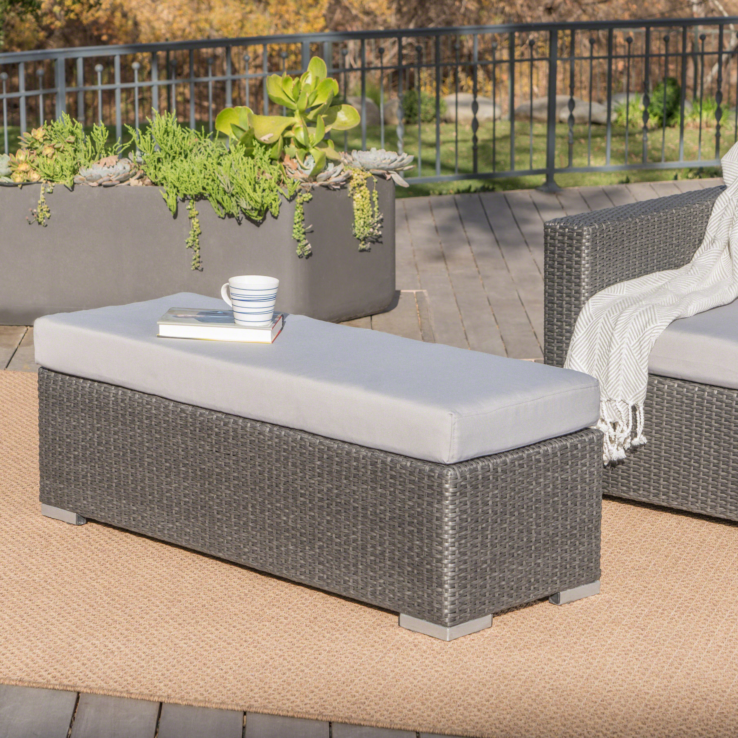Avianna Outdoor Wicker Bench with Cushion, Grey, Silver