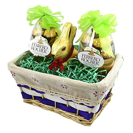Gift Universe Easter Gift Basket With Ferrero Rochers Easter Egg And Lindt Easter Gold Bunny 7 Ounce