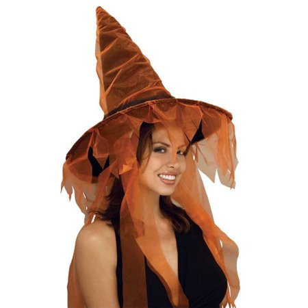 Adult Orange Ghost Witch Hat Rubies 49582