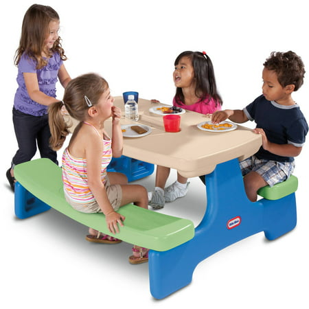 Little Tikes Easy Store Picnic Table, Blue/Green (Best Kids Picnic Table)