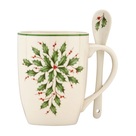 Lenox Holiday Gems - Lenox Holiday Cocoa Mugs with Spoons, Ivory, Set of 2