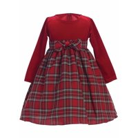 Made in the USA - Red Stretch Velvet w/ Plaid Holiday / Christmas Girls' Dress