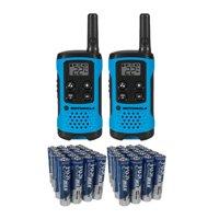 Motorola T100 16 Mile 2-Way Radio Walkie Talkie 2 Pack with Bonus 40 Pack of Fiji AAA Batteries