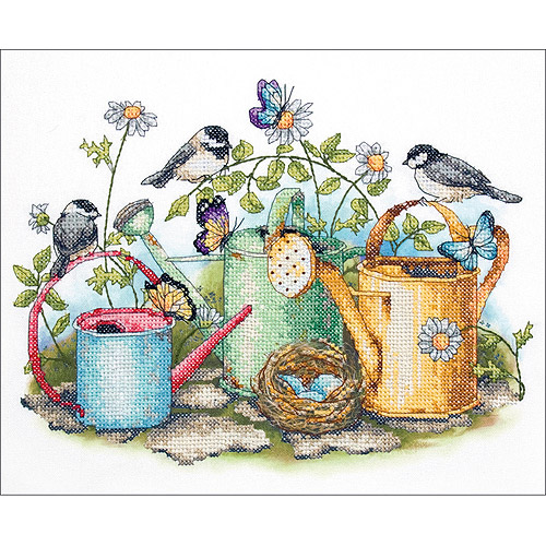 "Dimensions ""Watering Cans"" Stamped Cross Stitch Kit, 14"" x 11"""