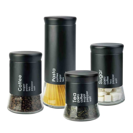 Home Basics Allaire Collection 4-piece Canister Set, Black ()