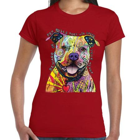 Tank Top Doggie T-shirt - Beware Pitbulls Tshirt Dean Russo Colorful Pet Dog Lovers Women Tee Tank Top Red