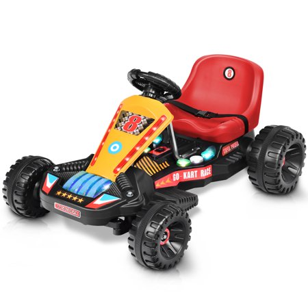 Goplus Electric Powered Go Kart Kids Ride On Car 4 Wheel Racer Buggy Toy Outdoor Red