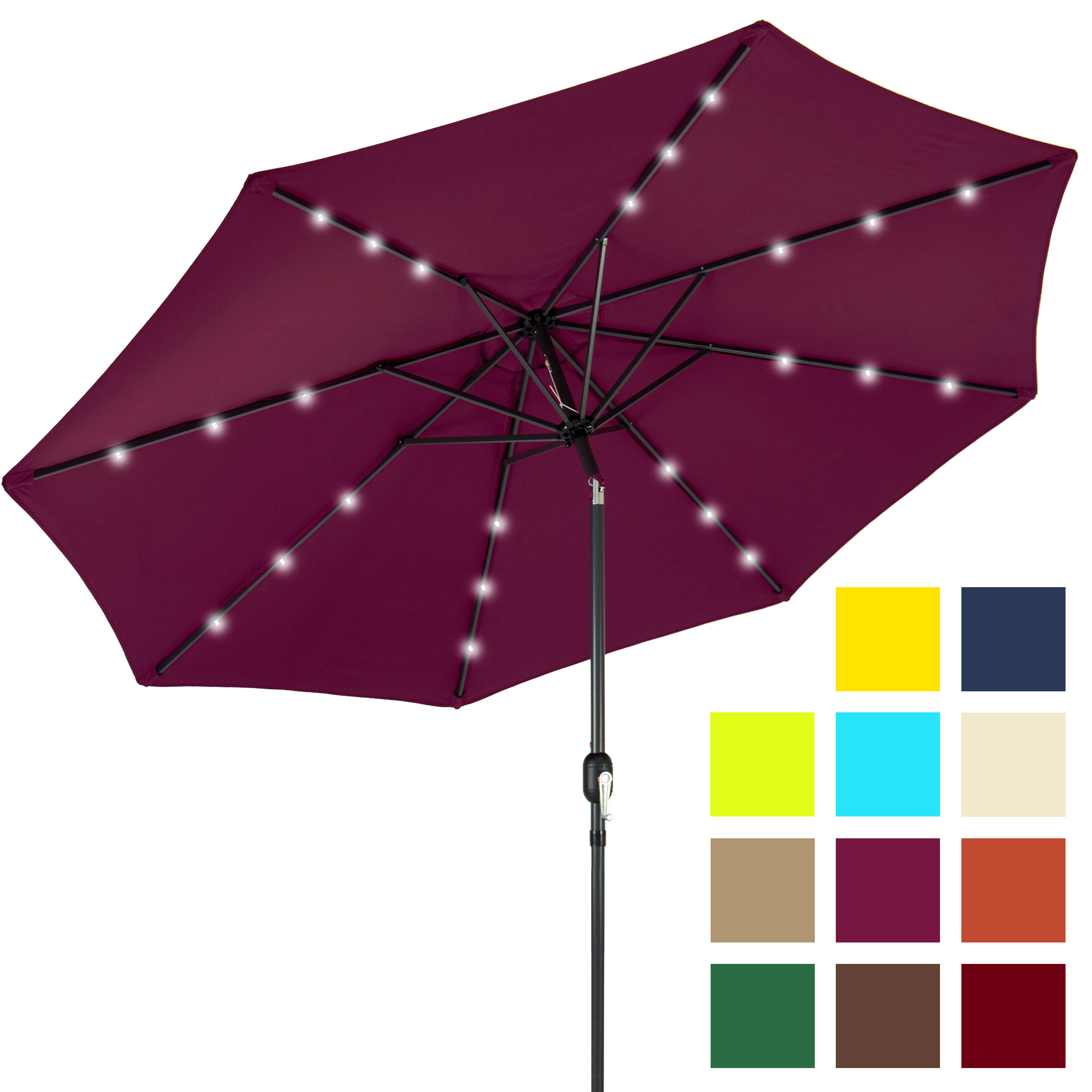 BCP 10FT Deluxe Patio Umbrella W  Solar LED Lights, Tilt Adjustment Multicolor by Best Choice Products