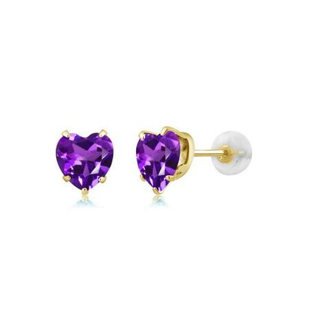 1.30 Ct Heart Shape 6mm Purple Amethyst 10K Yellow Gold Stud Earrings