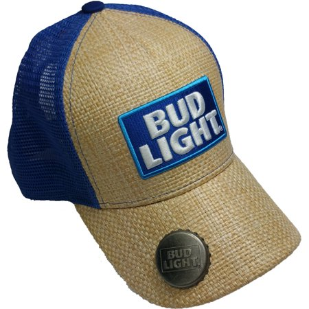 1ce240d5af5cb Budweiser - Men s Bud Light Paper Straw Mesh Trucker Hat with Bottle Opener  - Walmart.com