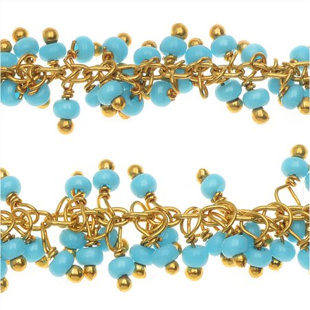 Gold Vermeil Wire Wrapped Beaded Chain, Turquoise Seed Beads - by the Inch (Wire Wrapping Beads)