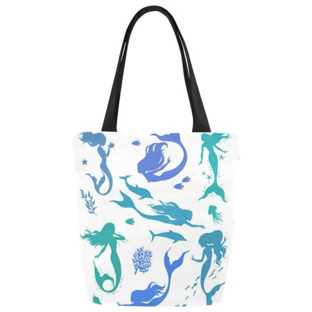 HATIART Watercolor Mermaid Silhouettes Canvas Tote Bag Shoulder Handbag Grocery Bag for School Shopping Travel - image 1 of 3