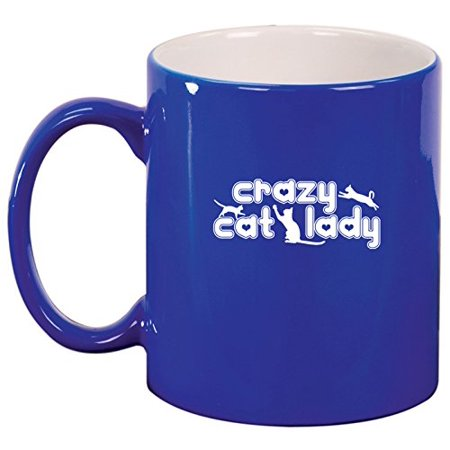 Ceramic Coffee Tea Mug Crazy Cat Lady  Blue