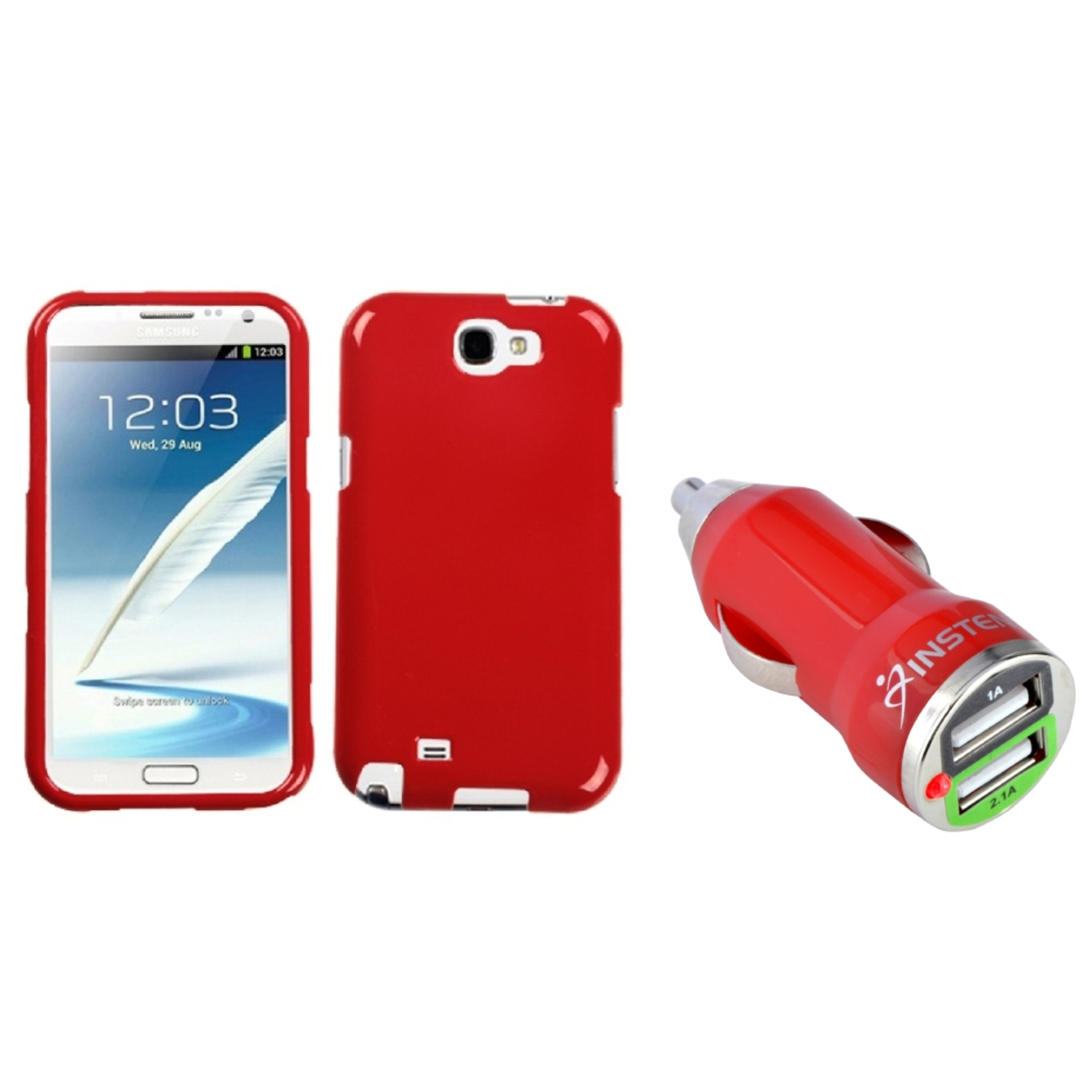 Insten Flaming Red Hard Case+Dual USB Car Charger Adapter For Samsung Galaxy Note 2 II