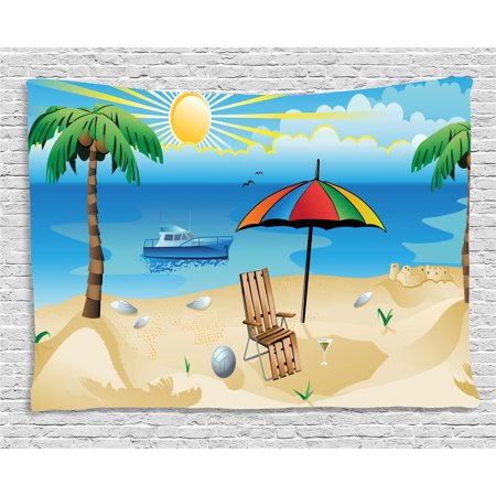 Rainbow Beach Umbrella - Beach Tapestry, Colorful Cartoon Style Coast Pattern Boat Rainbow Umbrella Open Skyline Palm Tree, Wall Hanging for Bedroom Living Room Dorm Decor, 60W X 40L Inches, Multicolor, by Ambesonne