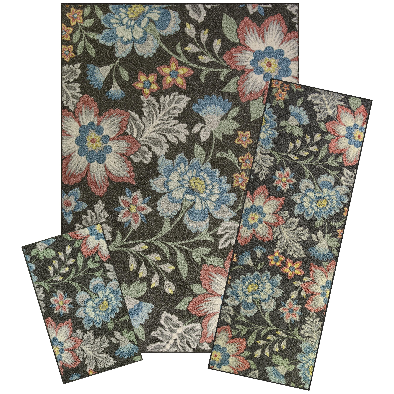 Mainstays Gray Floral Loop Pile Print 3-Piece Area Rug Set