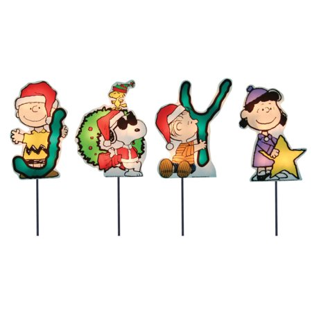 set of 4 pre lit joy peanuts and snoopy christmas pathway markers