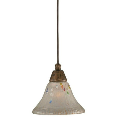 Toltec Cambridge 1-Light Bronze 7.5 in. Pendant with Frosted Crystal - Polished Bronze Classic Crystal